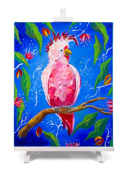 Hello Cocky! - painting by Cork & Chroma